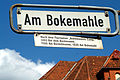 Am Bokemahle Hannover Südstadt Straßenschild Flurname Bokemannes Camp 1493 Bei dem Bockmanne 1566 Am Bockelmanne 1830 Am Bokemahl.jpg