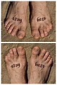 Ambigram tattoo Stay here written on feet - up and down.jpg