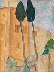 Cypresses and Houses at Cagnes