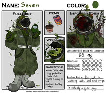 "A character sheet for a green-suited astronaut named ""Seven"""