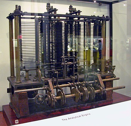 A trial model of a part of the Analytical Engine, first described by Charles Babbage in 1837[29]