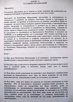 Ohrid Agreement - Annex of Ohrid Agreement