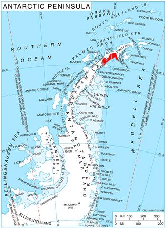 Albone Glacier - Location of Nordenskjöld Coast.