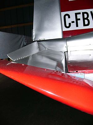 Servo tab - An anti-servo tab on the elevator of an American Aviation AA-1 Yankee.