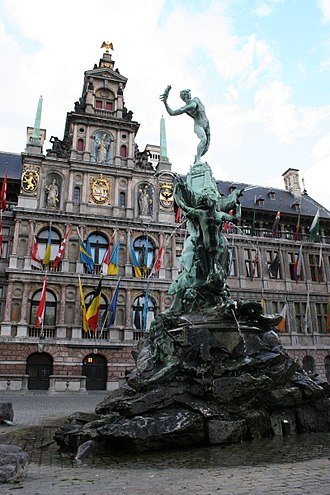 The Amazing Race 30 - Grote Markt in Antwerp, in the shadow of Brabo Fountain and City Hall, hosted the very first Head-to-Head and the second Pit Stop of the Race.