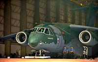 A KC-390 military transport aircraft, developed by Brazilian company Embraer, the third largest producer of civil aircraft, after Airbus and Boeing.[165]
