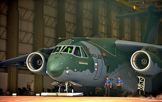 KC-390 is the largest military transport aircraft produced in South America by the Brazilian company Embraer. Apresentacao KC-390 (15414135738).jpg
