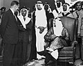 Aramco President Fred Davies talks to King ibn Saud in the Dhahran Dinning Hall in the 1950 s by Bert Seal The Arabian Sun Mihir Manek Ahmed M Awad Fred Bobb Arvid Koris pw 2018 Photo-Week 27.jpg