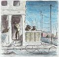 Ardizzone travelled to Germany to join the British Army in February 1945. His diary entries record the effect of the war on the civilian population- 9th April 1945, '...inhabitants so English-looking and frightened-look Art.IWMARTLD5261.jpg