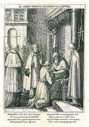 Arno of Salzburg - Arno of Salzburg kneels before Pope Leo III in 798 (Egidius Sadeler, ca. 1600)