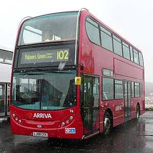 Bus - An Alexander Dennis Enviro400 double-decker bus, operating for Arriva London on London Buses route 102