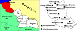 Location of Dunkirk in Nord-Pas-de-Calais