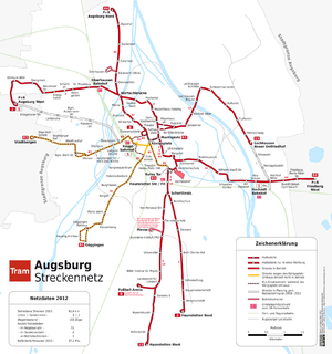 Trams in Augsburg - Map of the network, 2012.