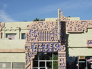 Aztec Hotel - Part of the facade of the hotel