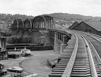 National Register of Historic Places listings in Marshall County, West Virginia - Image: B&O Railroad Viaduct from Benwood