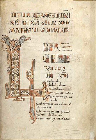 Breton literature - Breton Gospel Book: Folio 8 rect, the incipit page to the Gospel of Matthew