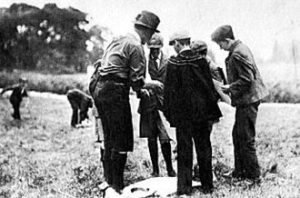 Brownsea Island Scout camp - Robert Baden-Powell with future Scouts on Brownsea Island