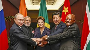 Foreign relations of India - India has often represented the interests of developing countries at various international platforms. Shown here are Vladimir Putin, Narendra Modi, Dilma Rousseff, Xi Jinping and Jacob Zuma, 2014.