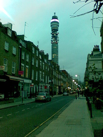 Cleveland Street, London - A view of Cleveland Street looking south from the intersection with Greenwell Street (previously Buckingham Street), featuring the BT Tower