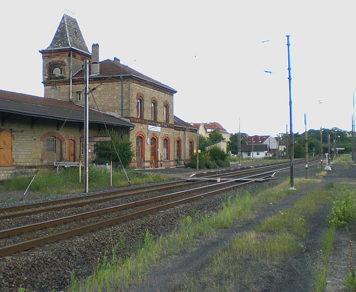 Railway Station, track-side, at Bouzonville, France