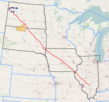 Dakota Access Pipeline route (Standing Rock Indian Reservation is shown in orange)[1][2]