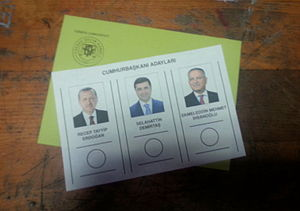 Turkish presidential election, 2014 - Ballot paper and envelope which includes the names and photos of candidates for Presidential Election.