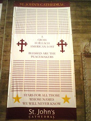 St. John's Cathedral (Los Angeles) - Banner for war dead at St. John's