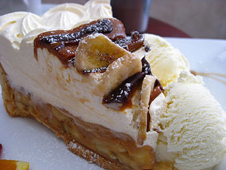 Banoffee pie - A slice of banoffee pie served with ice cream