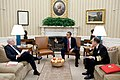 Barack Obama meets with Secretary of Defense Robert Gates, left, and Admiral Mike Mullen in the Oval Office, 2011..jpg