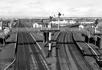 Barassie railway station - The station with four platforms in 1974