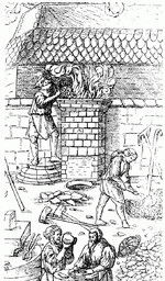 Engraving showing a medieval furnace