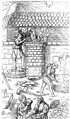 Bloomery smelting during the Middle Ages.
