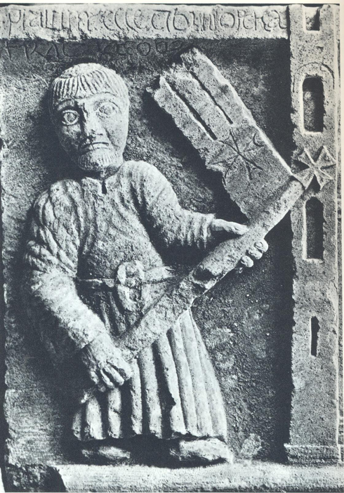 Lombard standard bearer re-entering Milan in 1167 (the year of the League's foundation) after its destruction in 1162 by Emperor Frederick I. Bas-relief Porta Romana, Milan (1171) Bassorilievo di Porta Romana (1171 ca.)..PNG