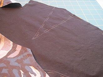 Tack (sewing) - Image: Basting pattern to material before cutting