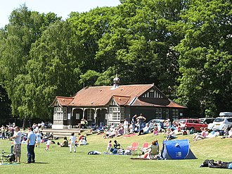 Recreation Ground (Bath) - Cricket pavilion on a children's cricket day