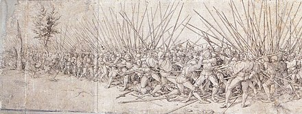 A variant copy of Holbein's engraving, showing the battle lines extended to both sides (engraving by unknown artist, early 16th century) Battle Scene, after Hans Holbein the Younger.jpg