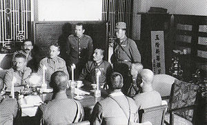 The Peninsula Hong Kong - Major General Maltby discussing the arrangement of surrender with Japanese at the Peninsula Hotel on 25 December 1941