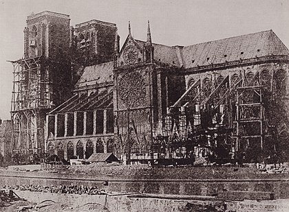 The Cathedral at the beginning of the restoration work, photo from 1847 by Hippolyte Bayard Bayard, Hippolyte - Notre-Dame de Paris (2) (Zeno Fotografie).jpg