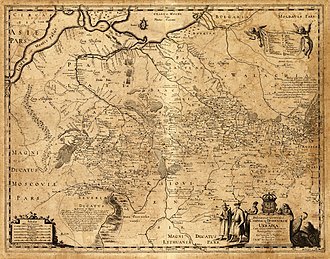 """Novorossiya - Ukraine 1648 (south on top) with a broad belt of """"loca deserta"""", Latin for desolated areas"""