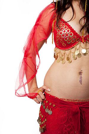 Navel fetishism - Belly dancers often have navel piercings.