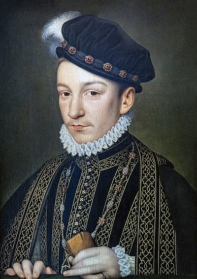 Retrato de Carlos IX, Óleo sobre tabla por François Clouet.
