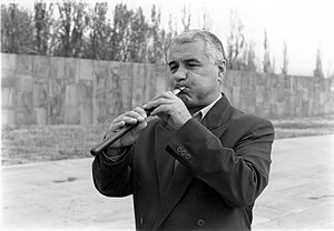 Duduk - Benik Ignatyan playing the duduk at the Armenian Genocide memorial complex in Yerevan, Armenia, 1997.