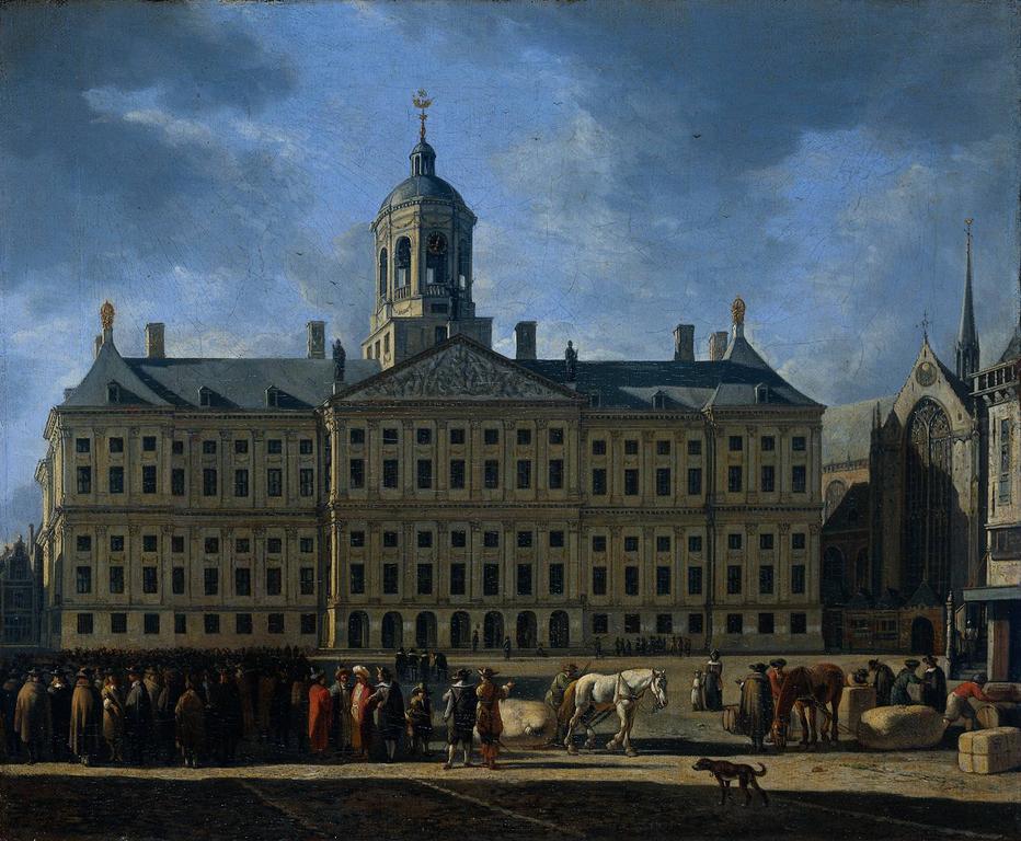 > Palais royal sur la place de Dam dans une toile de Gerrit Adriaensz Berckheyde.
