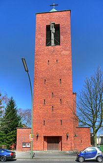 Berlin Dahlem St Bernhard Tower HDR.jpg