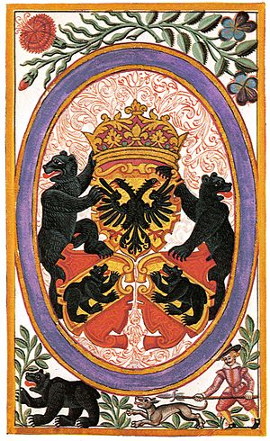 Coat of arms of Bern - The Bern-Rych coat of arms from the Berner Chronik of Michael Stettler, 1620.