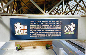 Berwick-upon-Tweed railway station - Plaque commemorating the former Great Hall of Berwick Castle