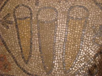 Luffa aegyptiaca - Luffa in mosaic at Beth Alfa synagogue