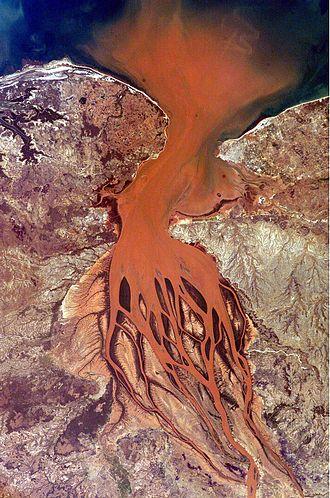 Bombetoka Bay - Betsiboka River estuary and Bombetoka Bay seen from space. (North is to the right.)