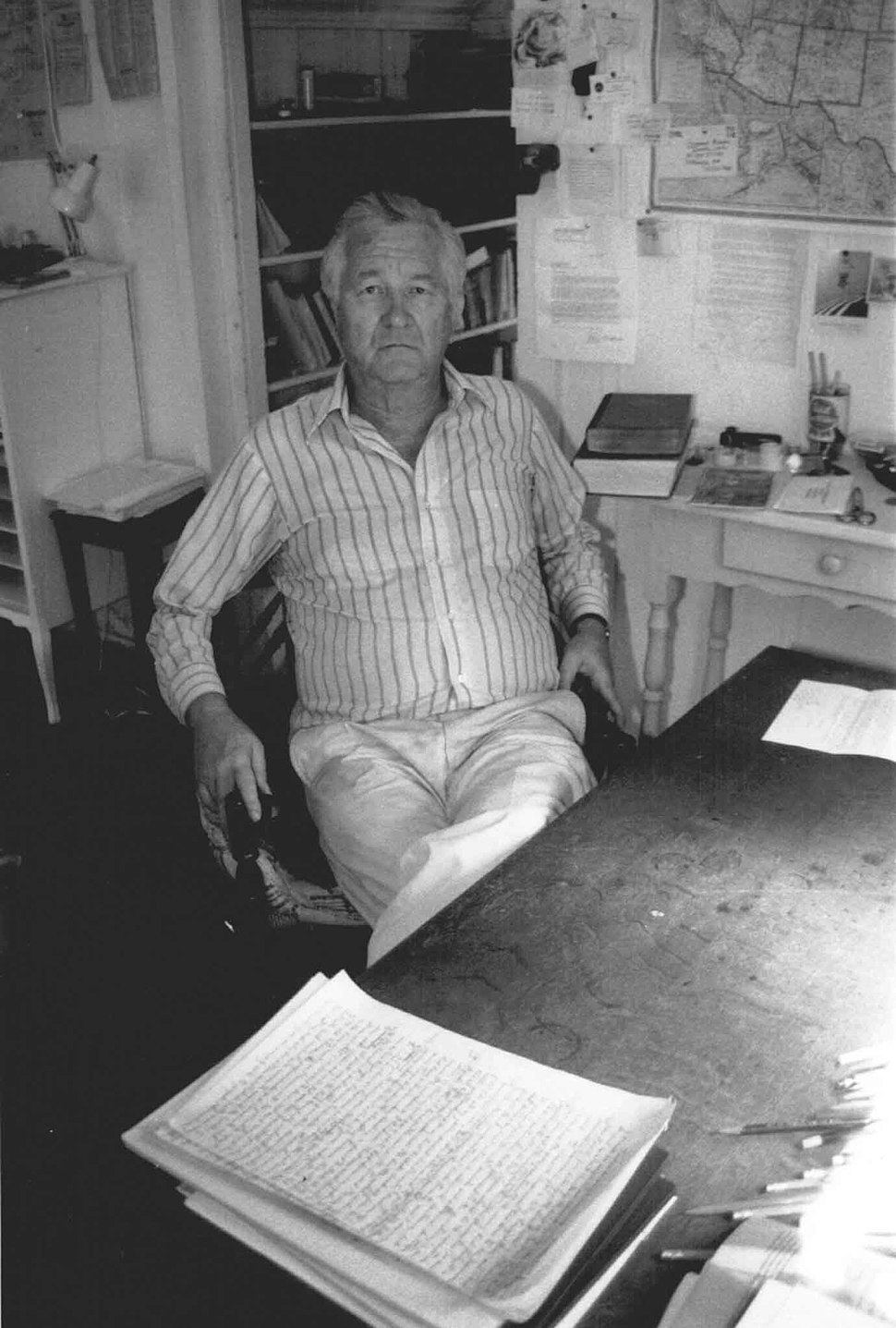 Bill Styron in his West Chop writing room on Martha's Vineyard - August 1989