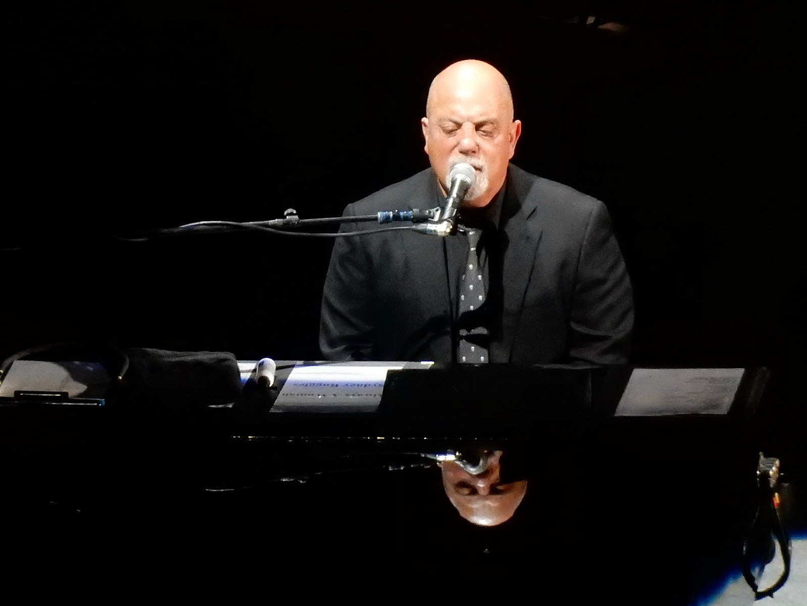 Billy Joel playing piano in concert in Madison Square Garden in 2016.